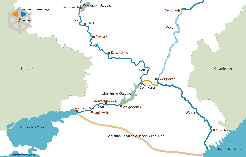 Wasserwege in Russland: Fluss Don & Wolga-Don-Kanal, die