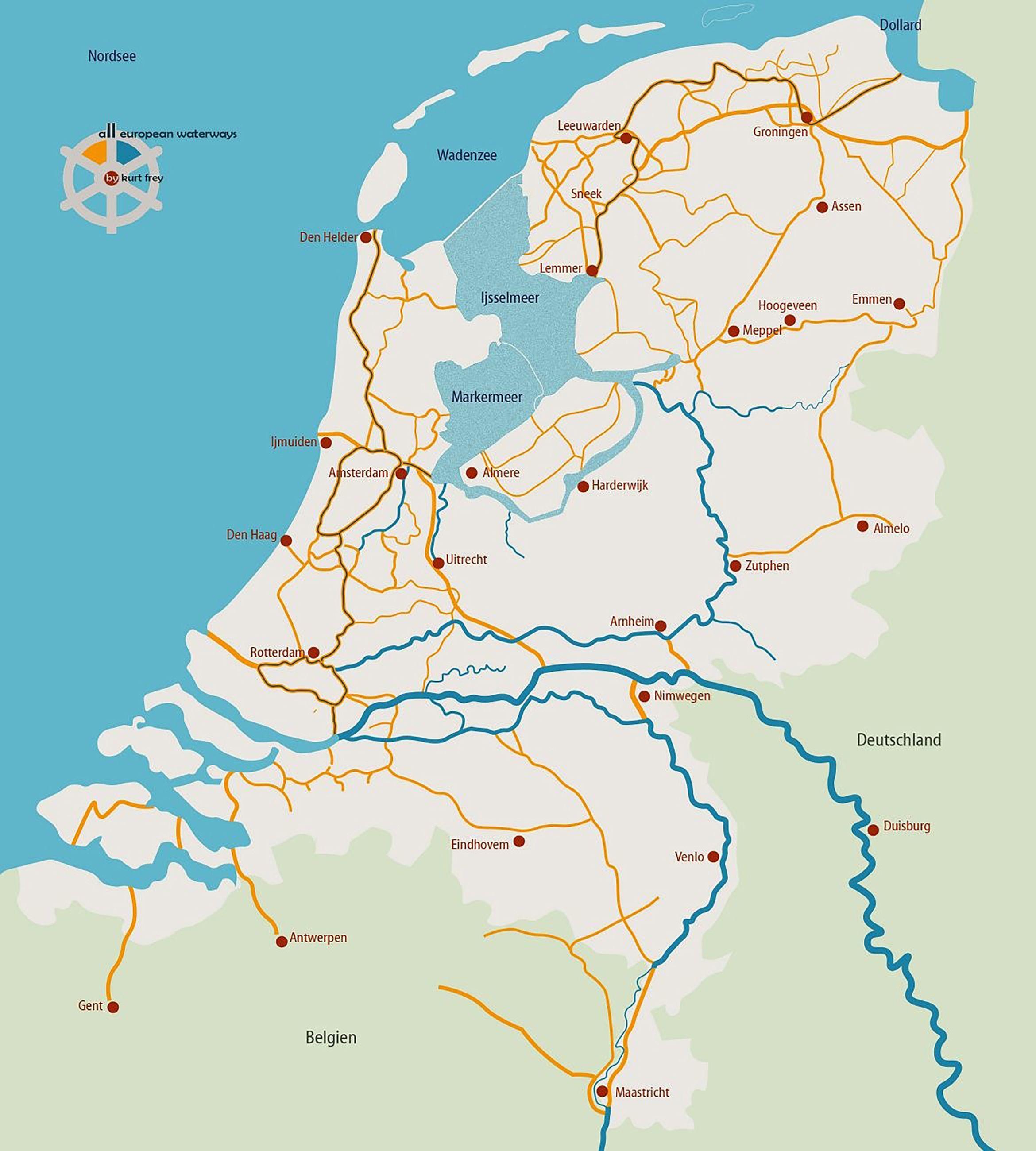 holland kanäle karte Alle schiffbaren Kanäle, Flüsse und Seen in Holland / Niederlande