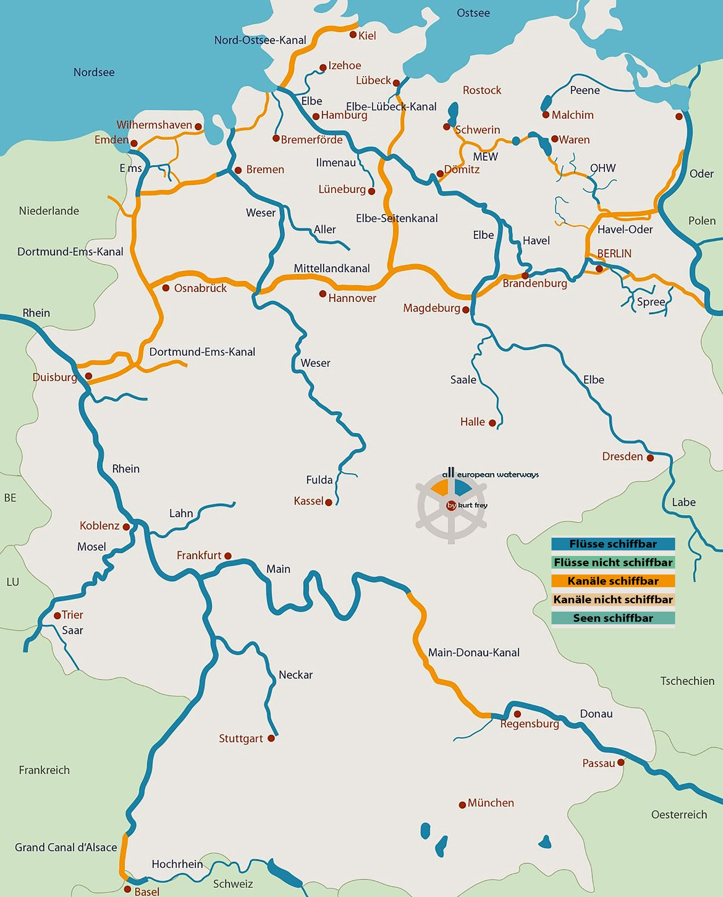 karte deutschland mit flüssen Deutschland, alle schiffbaren Gewässer, Kanäle, Flüsse, Seen und